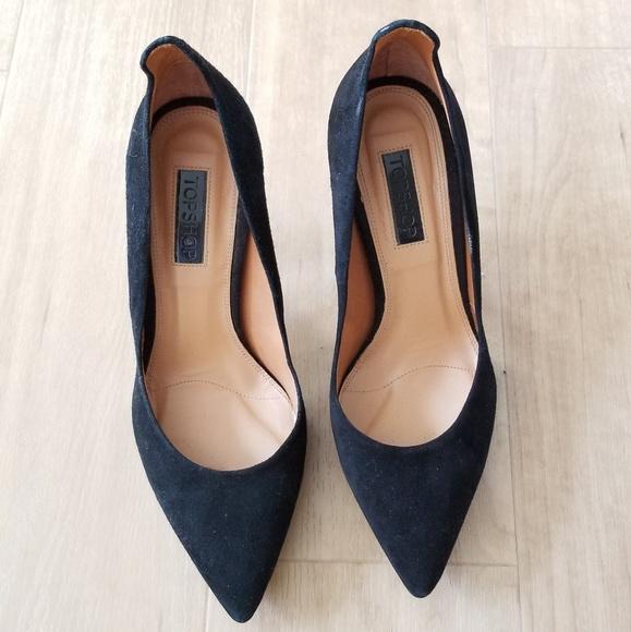 Topshop Black Suede Pointy Toe Heels